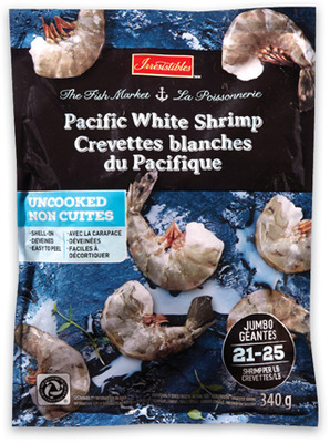 IRRESISTIBLES PACIFIC WHITE RAW SHRIMP FROZEN, 21-25 SIZE, 340 g