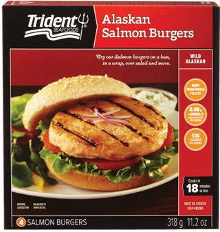 TRIDENT WILD PACIFIC SALMON OR ALASKAN POLLOCK BURGERS