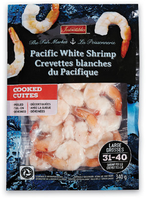 IRRESISTIBLES PACIFIC WHITE LARGE COOKED OR RAW SHRIMP