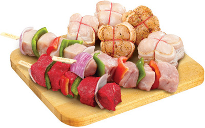 FRESH BACON WRAPPED CHICKEN OR TURKEY MEDALLIONS OR STORE MADE MEAT KABOBS
