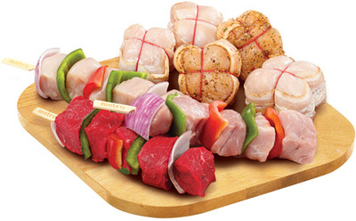 BACON WRAPPED MEDALLIONS OR STORE MADE MEAT KABOBS