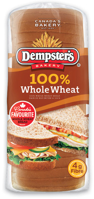 Dempster's Hot Dog or Hamburger Buns PKG OF 8 or 100% Whole Wheat Bread 675 g