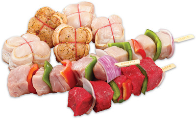 Bacon Wrapped Chicken or Turkey Breast Medallions or Store Made Meat Kabobs