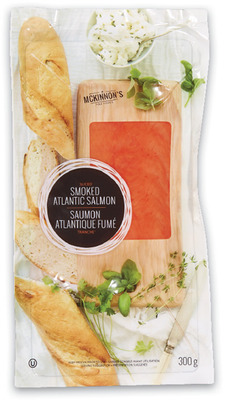 Fresh Coho Salmon Fillets 9.99/lb, 2.21/100 g or McKinnon's Smoked Atlantic Salmon FROZEN, 300 g, 9.99 EA.