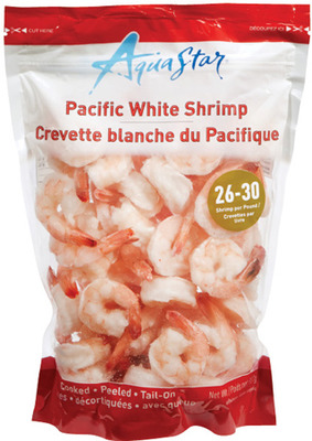 AQUA STAR COOKED SHRIMP 26/30 SIZE OR MARINA DEL REY RAW WILD ARGENTINIAN SHRIMP 20/30 SIZE, FROZEN, 908 g