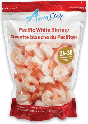 AQUA STAR COOKED SHRIMP 26 - 30 SIZE, 908 g or IRRESISTIBLES COLOSSAL SHRIMP RING 13 - 15 SIZE, 454 g