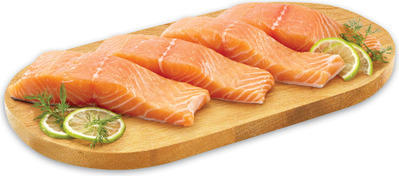 FRESH ATLANTIC SALMON PORTIONS, ICELANDIC COD OR HADDOCK
