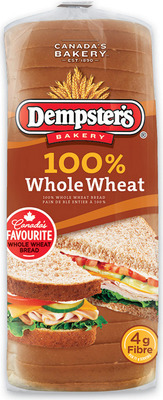 "DEMPSTER'S WHITE, 100% WHOLE WHEAT BREAD OR HOT DOG OR HAMBURGER BUNS OR SMOOTH MULTIGRAINS OR SMART BREAD, 7"" TORTILLAS OR IRRESISTIBLES ITALIAN STYLE BREAD"