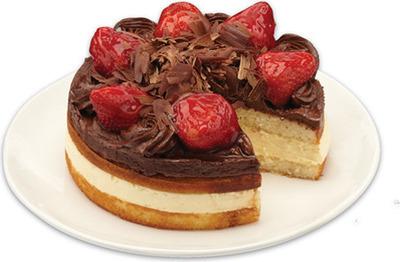 FRONT STREET BAKERY TRIPLE STRAWBERRY BOSTON CUSTARD CAKE, STRAWBERRY BOSTON CUSTARD CAKE, CHOCOLATE BOSTON CUSTARD CAKE WITH STRAWBERRIES