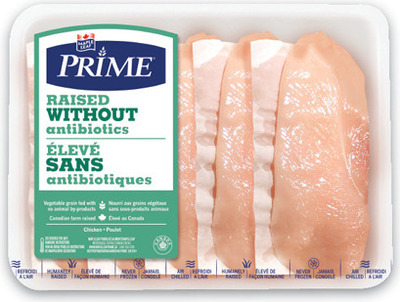 MAPLE LEAF PRIME RAISED WITHOUT ANTIBIOTICS FRESH CHICKEN THIGHS, FILLETS OR CUTLETS