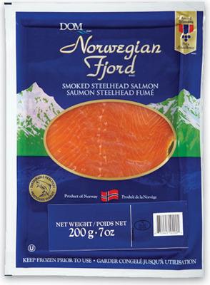 FRESH ATLANTIC SALMON FILLETS FAMILY PACK MIN. 900 g 8.99/lb, 1.99/100 g or NORWEGIAN FJORD SMOKED STEELHEAD SALMON FROZEN, 200 g