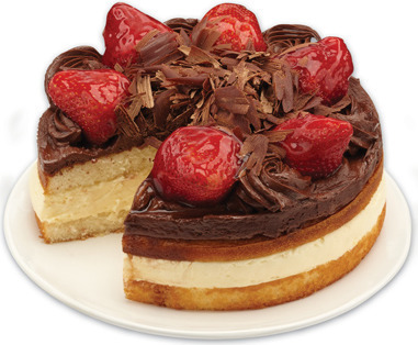 FRONT STREET BAKERY CHOCOLATE BOSTON CUSTARD CAKE WITH STRAWBERRIES