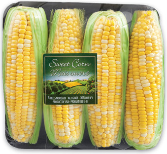 MINI CUCUMBERS 908 g PRODUCT OF ONTARIO, CANADA No. 1 GRADE GREEN FRENCH BEANS 400 g PRODUCT OF MEXICO SWEET CORN 4 PK PRODUCT OF U.S.A., No. 1 GRADE WHITE SWEET CORN 4 PK PRODUCT OF U.S.A., No. 1 GRA