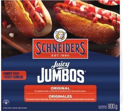 SCHNEIDERS SMOKIES OR JUICY JUMBOS WIENERS 900 g