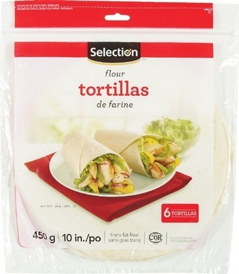 """SELECTION 10"""" TORTILLAS 450 - 630 g or DEMPSTER'S HOT DOG OR HAMBURGER BUNS PKG OF 8 IRRESISTIBLES MAMMOTH OR FLATBREAD BUNS PKG OF 6 - 8"""