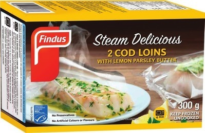FINDUS STEAM DELICIOUS COD LOINS WITH BUTTER