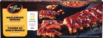 44TH STREET PORK BACK RIBS 595 G, SELECTED VARIETIES OR IRRESISTIBLES BEEF SHORT RIB AND BRISKET BURGERS FROZEN, 680 G