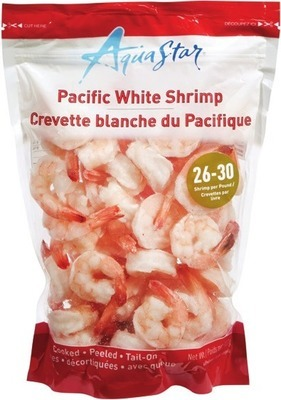 AQUA STAR COOKED SHRIMP 26 - 30 SIZE OR RAW SHRIMP 16 - 20 SIZE, 908 G OR IRRESISTIBLES COLOSSAL SHRIMP RING 454 G FROZEN