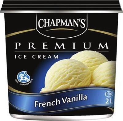 CHAPMAN'S ICE CREAM, FROZEN YOGURT OR SORBET