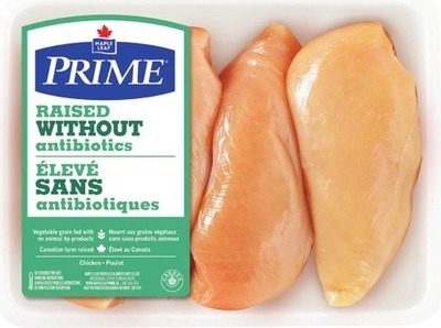 MAPLE LEAF PRIME RAISED WITHOUT ANTIBIOTICS BONELESS SKINLESS CHICKEN