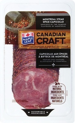 MAPLE LEAF CANADIAN CRAFT SLICED CAPICOLLO, HAM OR SALAMI