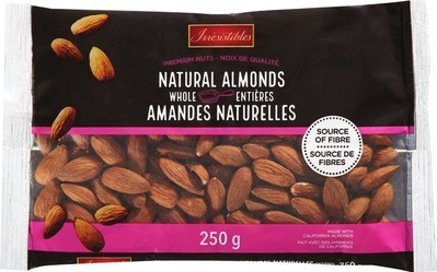 IRRESISTIBLES WHOLE NATURAL ALMONDS, WALNUT HALVES AND PIECES