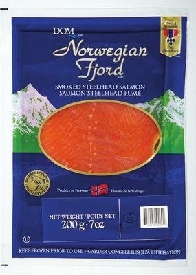 DOM SMOKED STEELHEAD SALMON, 200 g, 9.99 ea. or FRESH ATLANTIC SALMON FILLETS FAMILY PACK min. 900 g, 9.99/lb, 2.21/100 g