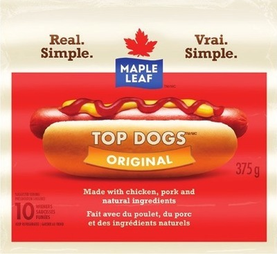 MAPLE LEAF TOP DOGS WIENERS OR SCHNEIDERS RED HOTS