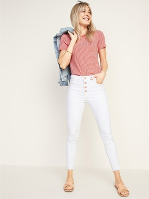 66ff732011d2 High-Rise Secret-Slim Pockets Button-Fly Rockstar Raw-Edge Ankle Jeans for  Women