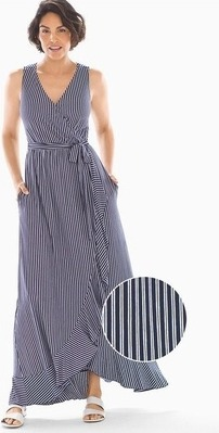 366dd4ece2 Soft Jersey Ruffle Border Maxi Dress Navy Stripe - Flipp
