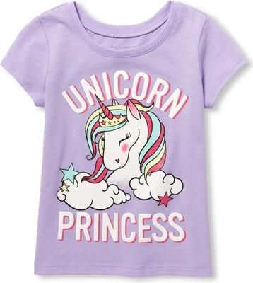 893305c41 Baby And Toddler Girls Short Sleeve Glitter  Unicorn Princess  Graphic Tee  - Flipp