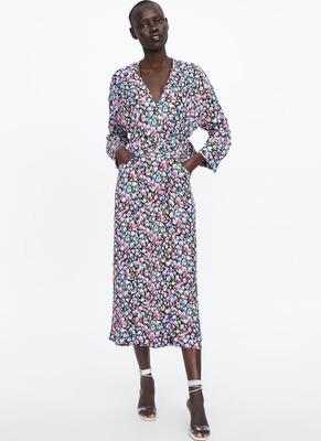 af06c707 PRINTED DRESS WITH BELT - Flipp