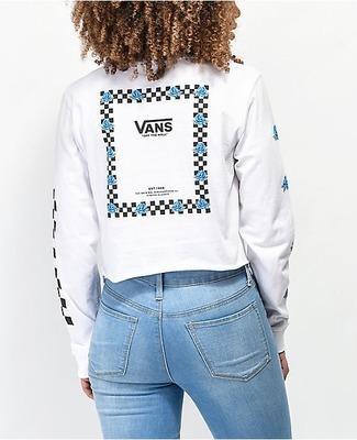 594d6d07 Vans Bloom White & Blue Long Sleeve Crop T-Shirt - Flipp
