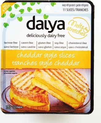 DAIYA DAIRY-FREE CHEESE MOZZARELLA, PEPPER JACK OR CHEDDAR SHREDS 227 G MOZZARELLA OR CHEDDAR SLICES 220 G CHEDDAR OR SMOKED GOUDA BLOCKS 200 G PLAIN OR ONION/CHIVE SPREAD 227 G