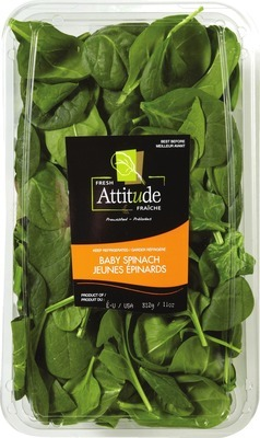 ATTITUDE SALADS 312 G BABY SPINACH OR SPRING MIX PRODUCT OF U.S.A.