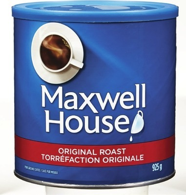 MAXWELL HOUSE GROUND COFFEE 631 - 925 G, NABOB OR IRRESISTIBLES COFFEE CAPSULES 8 - 14 UN.