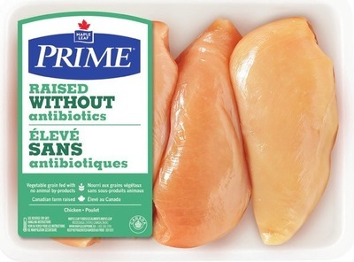MAPLE LEAF PRIME RAISED WITHOUT ANTIBIOTICS FRESH BONELESS SKINLESS CHICKEN BREAST VALUE PACK OR CHICKEN THIGHS