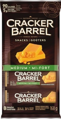 CRACKER BARREL SLICED CHEESE 200 ‑ 240 G OR CRACKER BARREL CHEESE SNACKS 168 ‑ 180 G