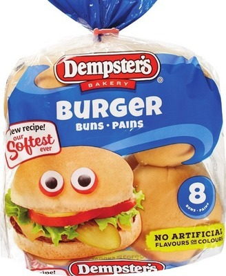 "DEMPSTERS GRAIN BREADS, BAGELS, 7"" TORTILLAS, VILLAGGIO BREAD OR BUNS OR DEMPSTER'S HOT DOG OR HAMBURGER BUNS"