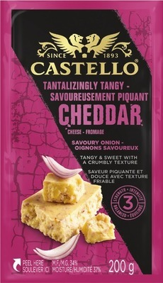 CASTELLO CHEDDAR CHEESE BLACK PEPPER, TANGY ONION, TICKLER OR AGED HAVARTI