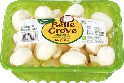 BELLE GROVE ORGANIC WHOLE WHITE OR CRIMINI MUSHROOMS