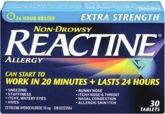 Get REACTINE Tablets or Liquid Gels 25's-36's or BENADRYL Caplets