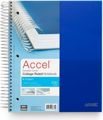 Get Accel® 5-subject notebook, 200 sheets for $5 0 in