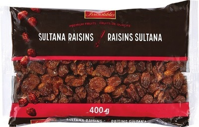 IRRESISTIBLES SULTANA OR GOLDEN RAISINS 400 G PREMIUM SIZZLER'S MIX 300 G