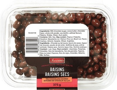 IRRESISTIBLES MILK CHOCOLATE COVERED RAISINS 375 G DRIED APRICOTS 400 G