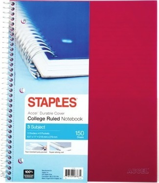 Get Accel® 3-subject college-ruled notebook, 150 sheets with