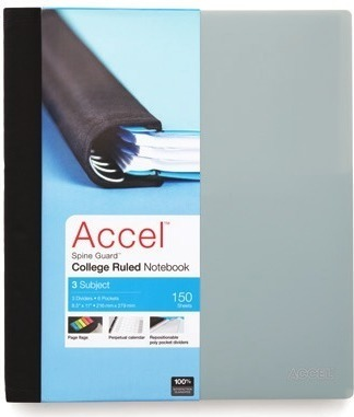 Get Accel® Spine Guard™ 5-subject college ruled notebook