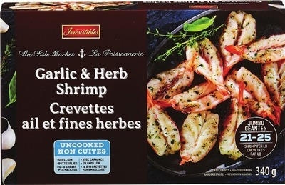 IRRESISTIBLES PACIFIC WHITE RAW SHRIMP 21 - 25 SIZE, GARLIC & HERB SHRIMP 340 G OR CRAB CAKES 227 G