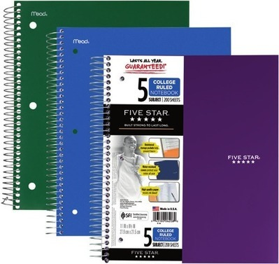 Get Five Star® 5-subject college-ruled notebook, 200 sheets