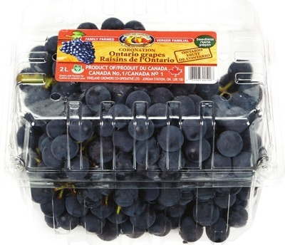 BLUE GRAPES 2 L PRODUCT OF ONTARIO, CANADA NO. 1 GRADE BARTLETT PEARS 2 L PRODUCT OF ONTARIO, CANADA FANCY GRADE
